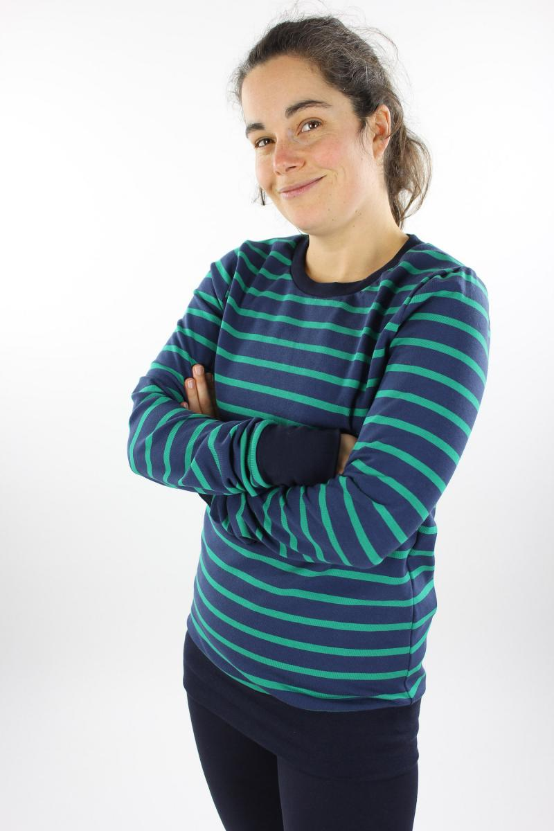 Langarmshirt aus Strickjersey blau/grün S
