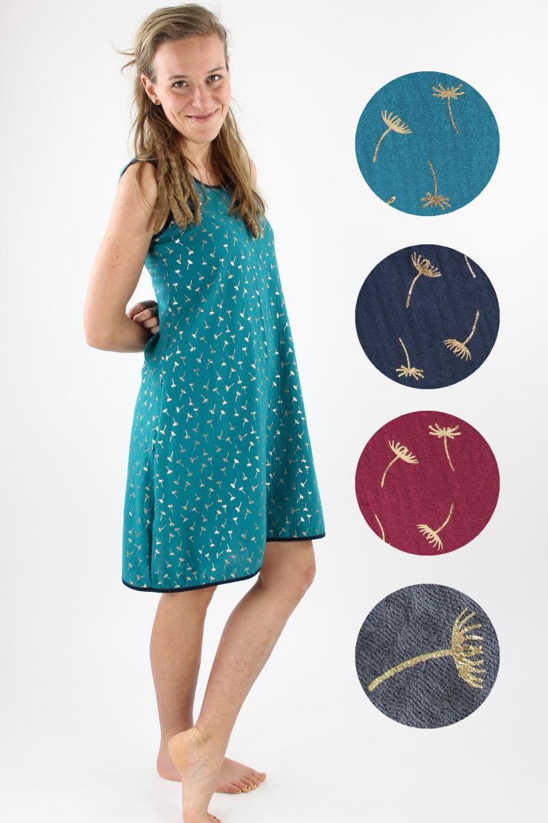 Musselin-Sommerkleid mit goldenen Pusteblumen MEHRERE FARBEN
