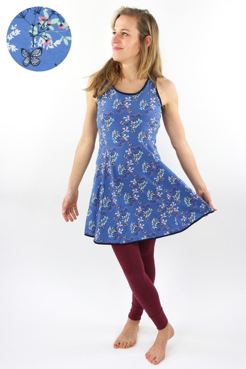 Skaterkleid ärmellos blau mit Schmetterlingen und Blumen