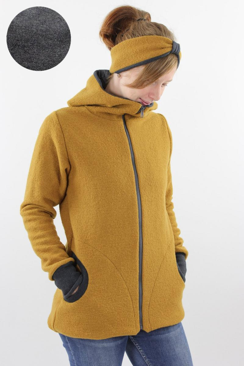 Damen-Wolljacke gelb und anthrazit meliert