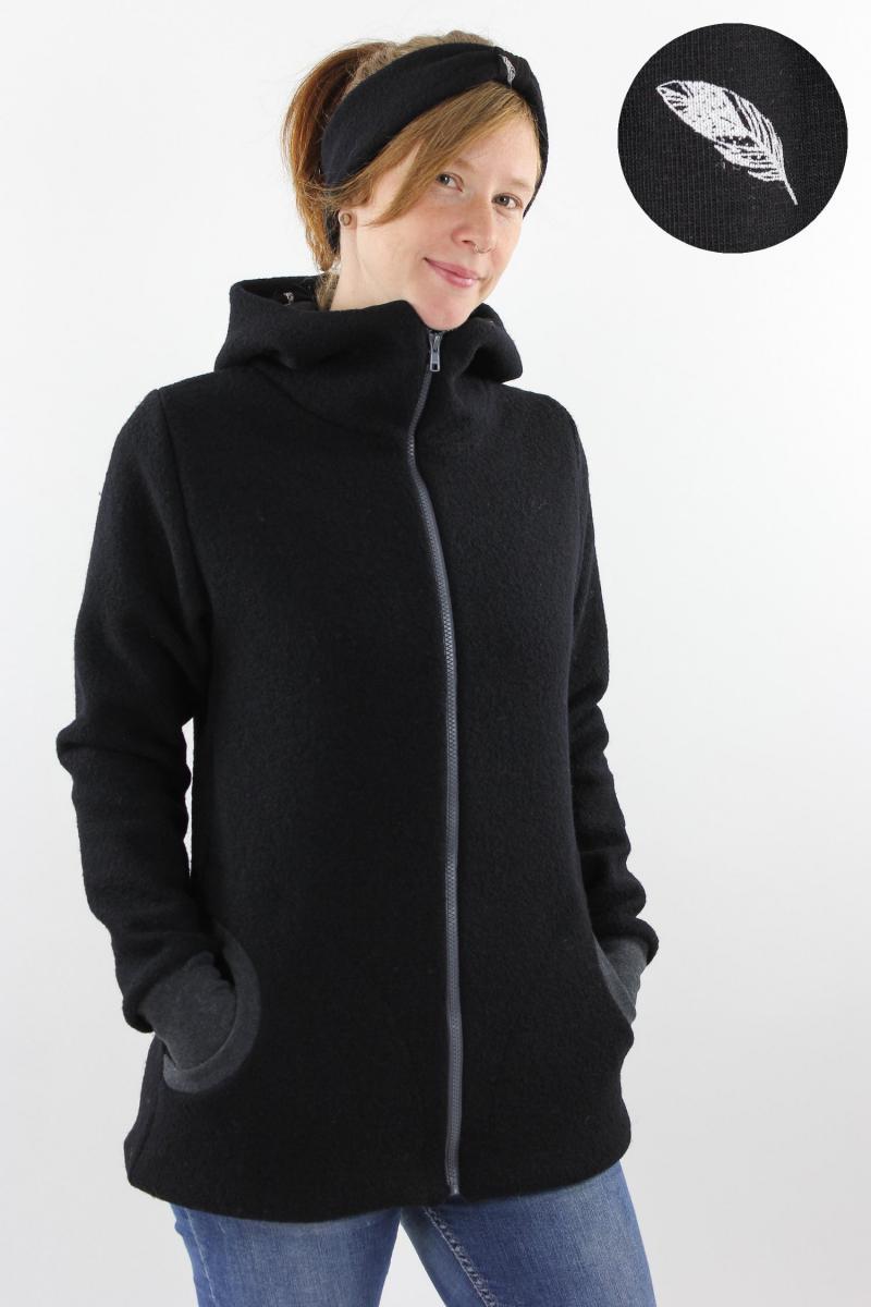Damen-Wolljacke schwarz mit Federn
