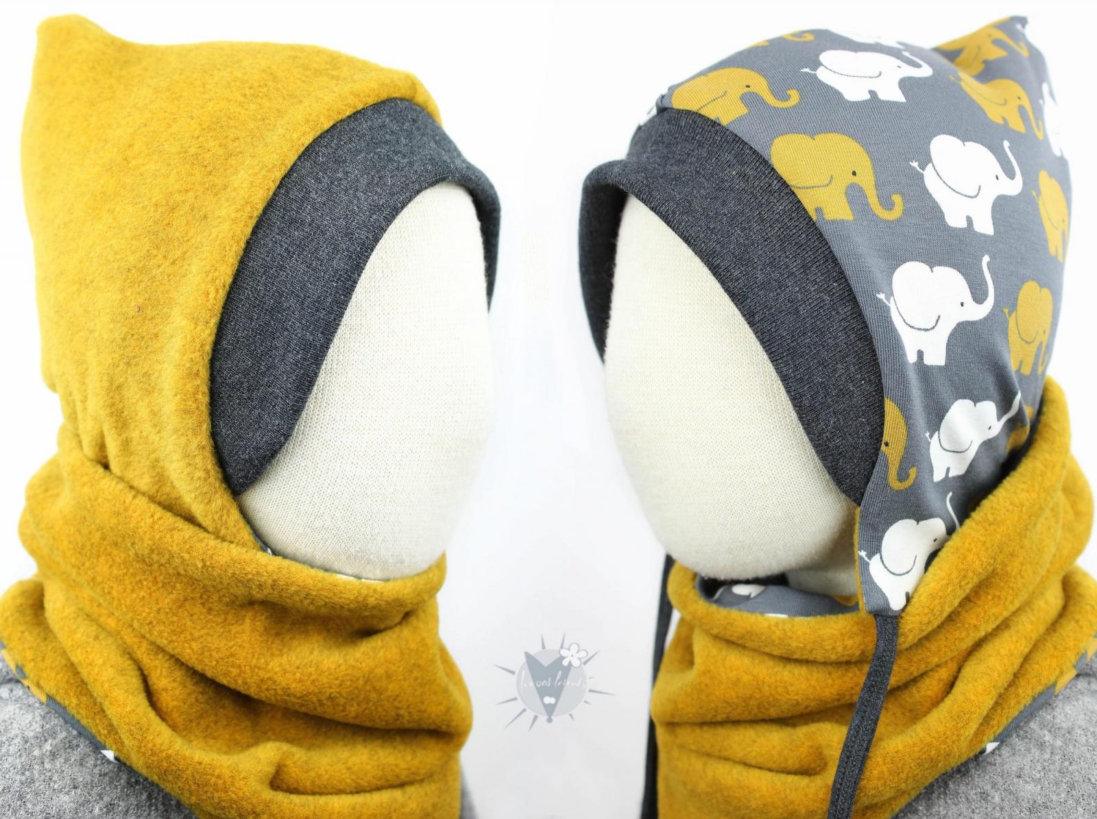 Kinder-Fleecemütze zum Wenden, gelb meliert/Elefanten auf grau