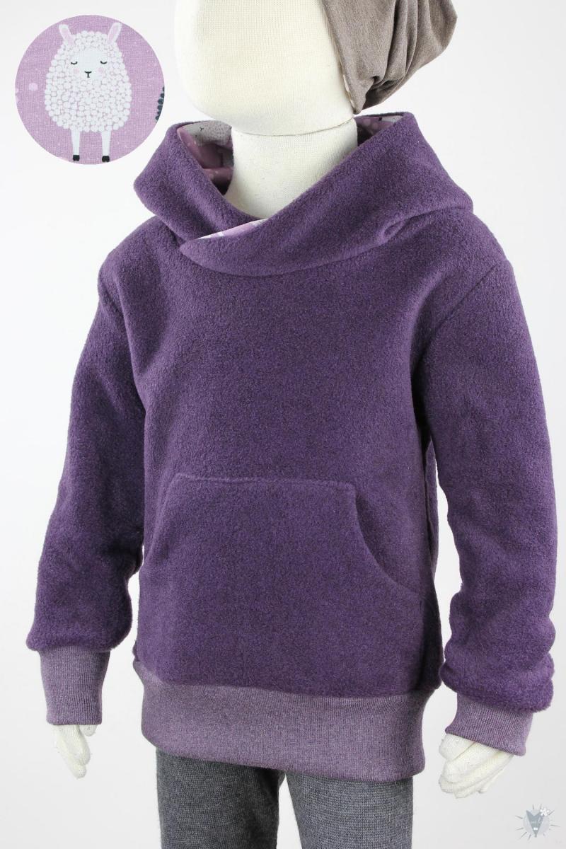 Kinder-Fleecepulli lila meliert mit Schafen auf lila