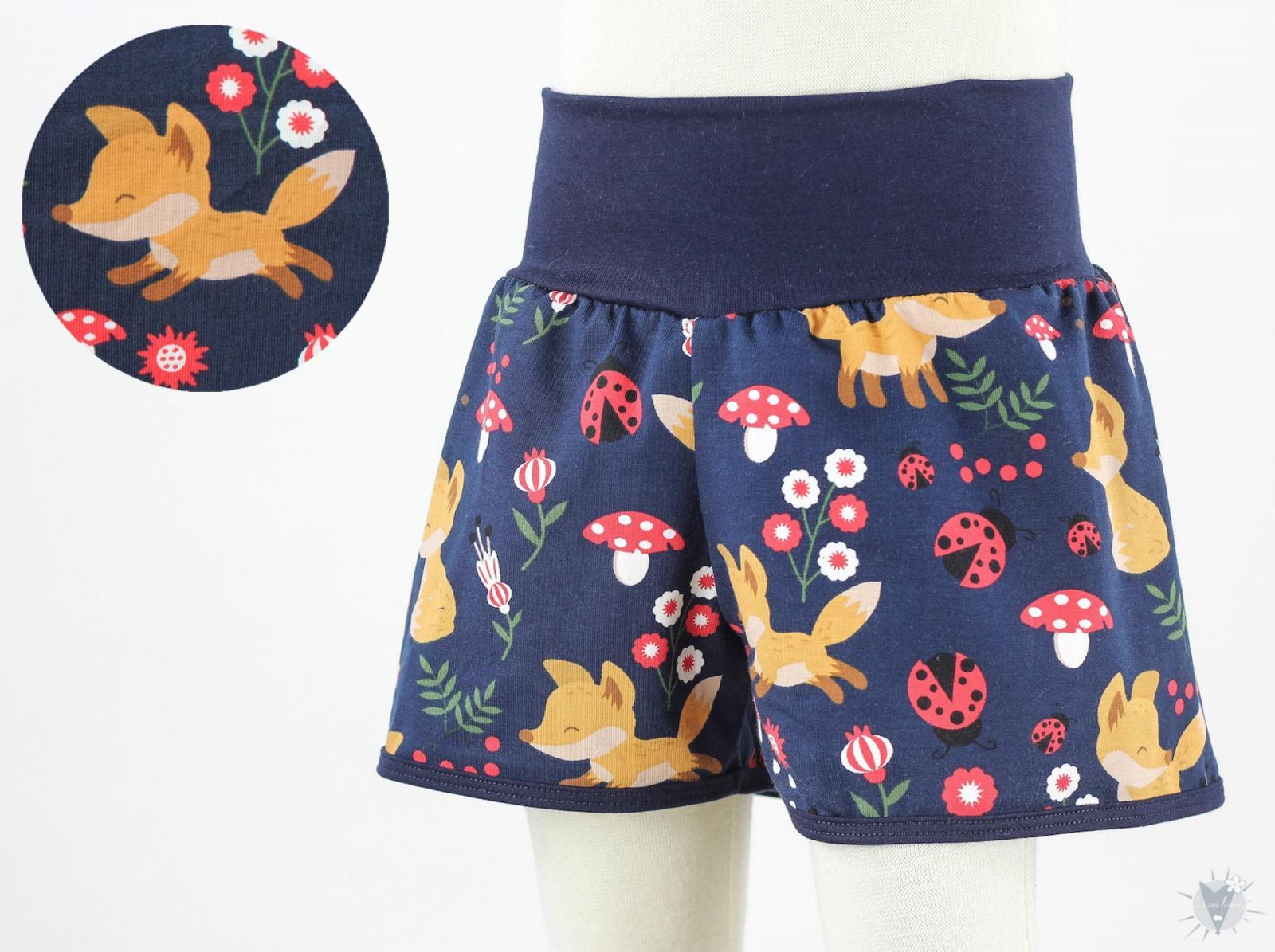 kurze Hose für Kinder mit Füchsen und Marienkäfern