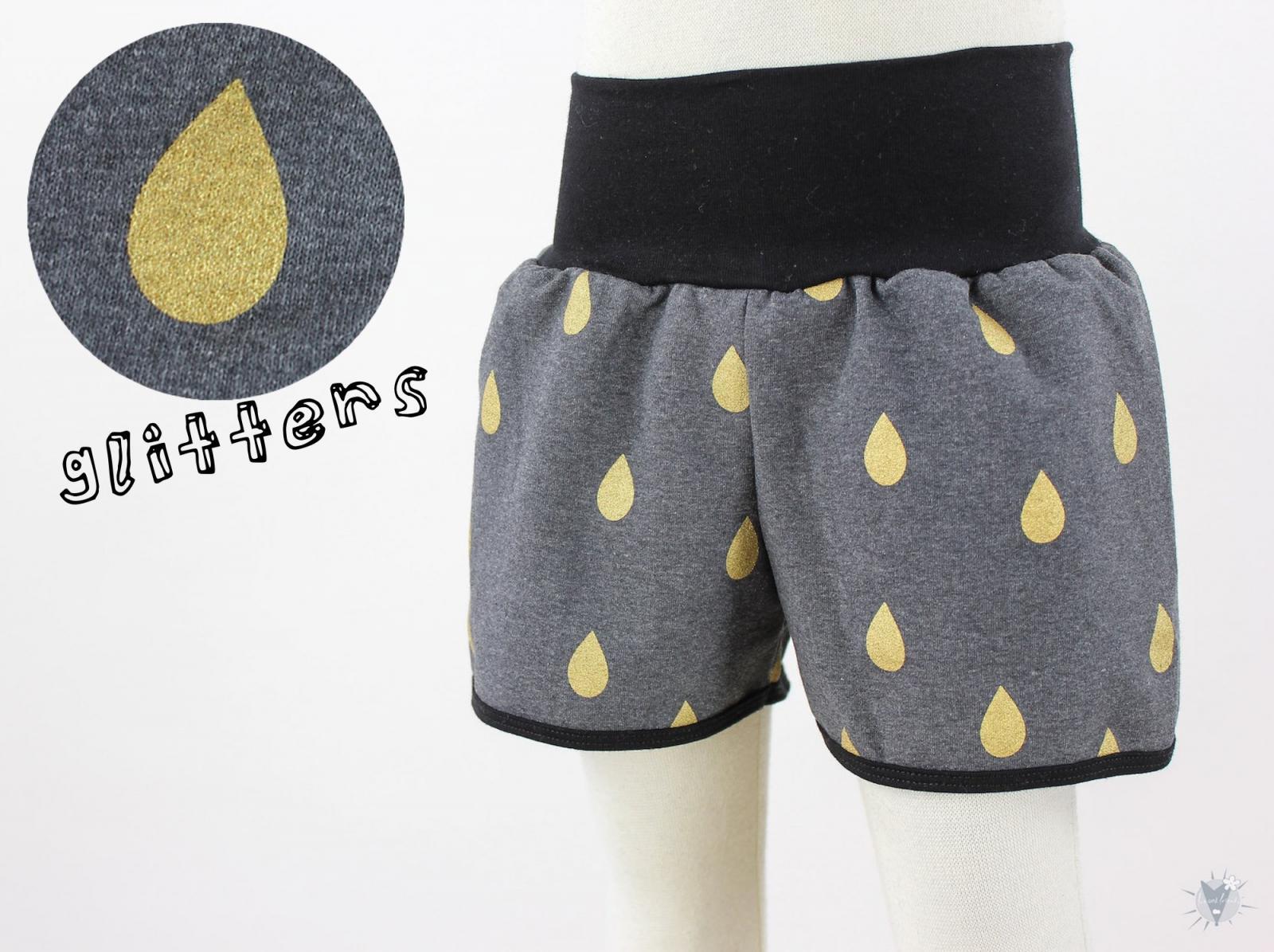 kurze Hose für Kinder anthrazit mit Goldregen *GLITZEREFFEKT*