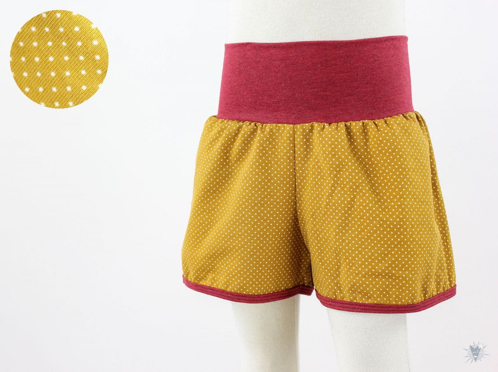kurze Hose für Kinder mit Punkten auf gelb
