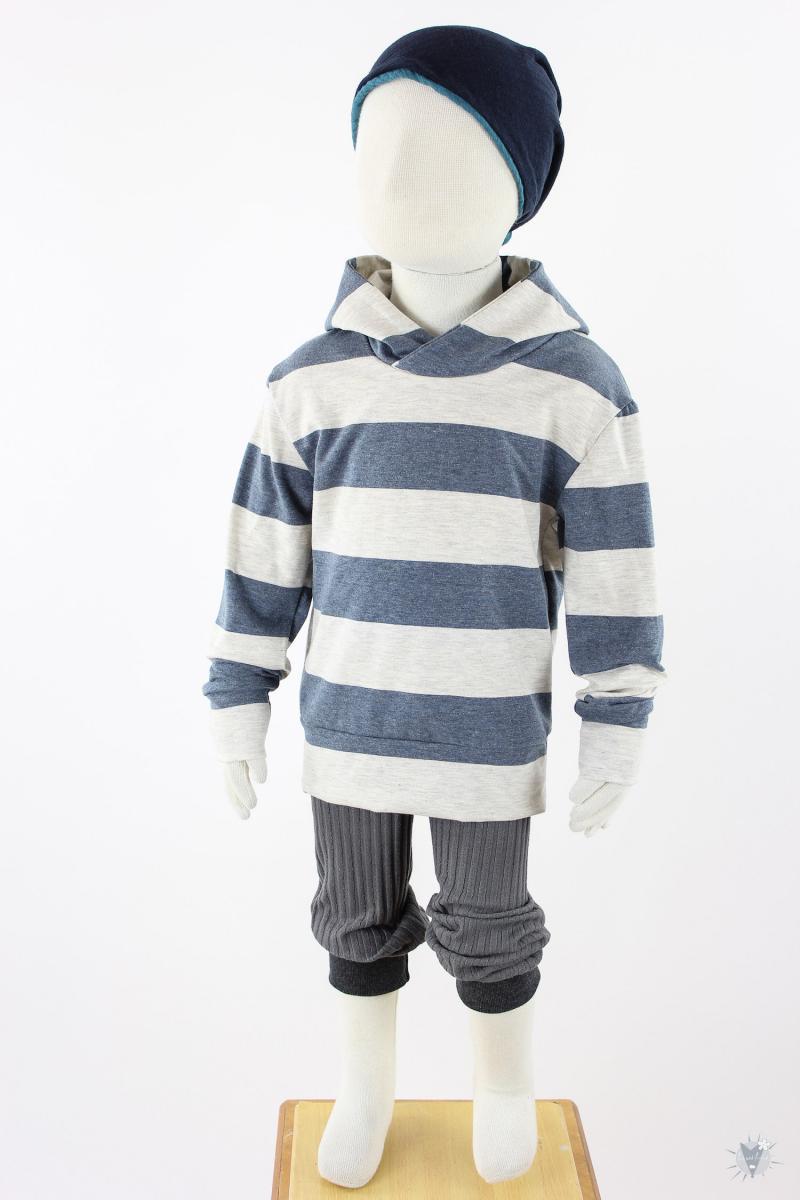 gestreifter Kinder-Kapuzenpulli aus Viskose-Jersey