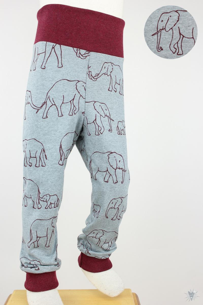Kinder-Leggings grau mit Elefantenfamilie