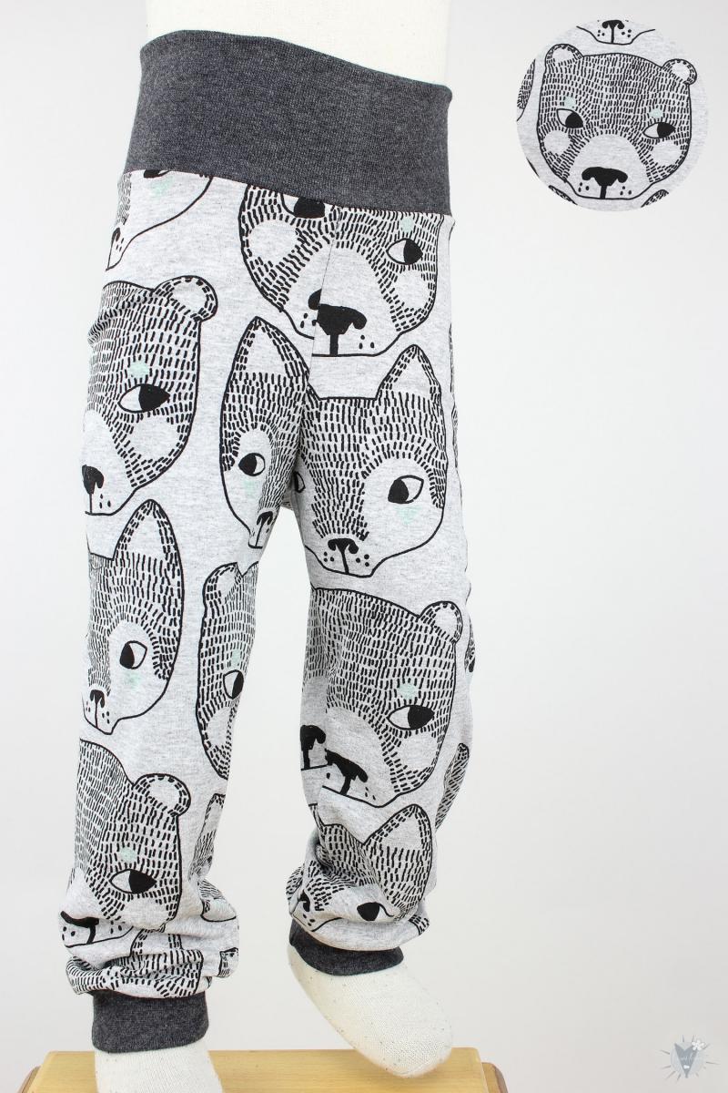 Kinder-Leggings hellgrau mit Füchsen und Bären