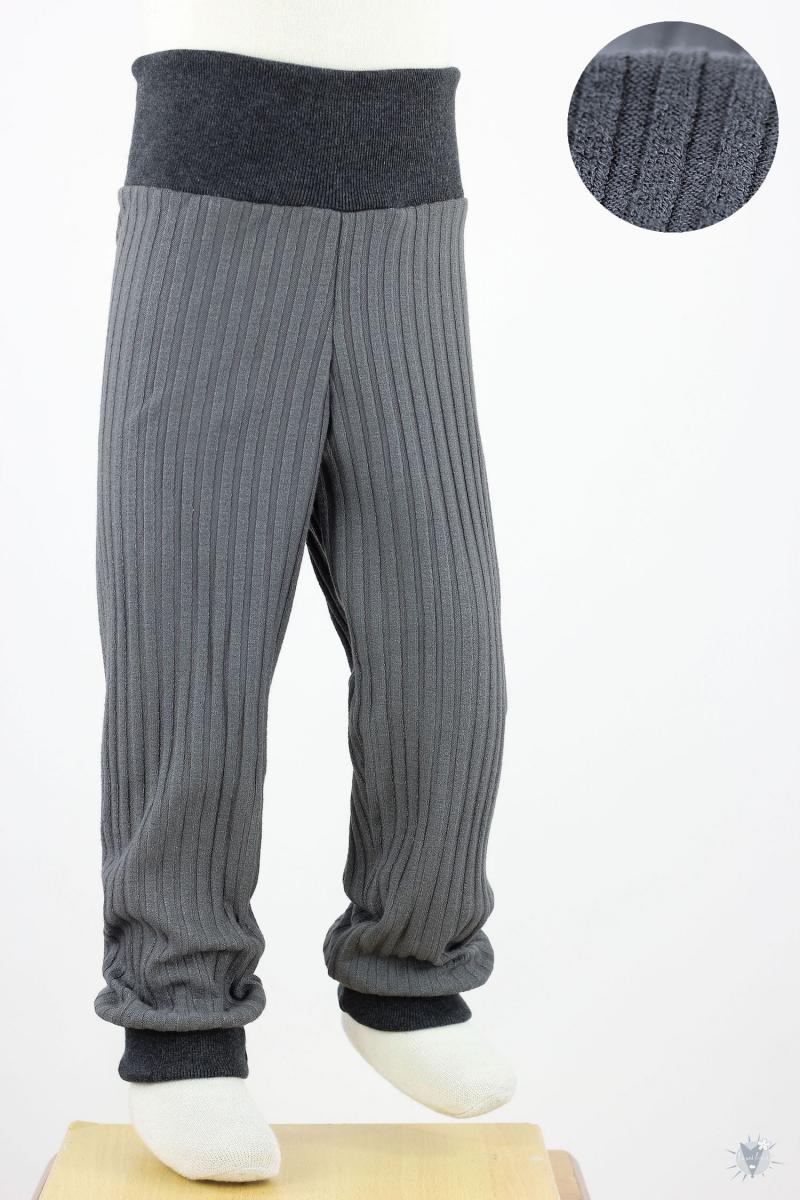 Kinder-Leggings aus Ripp-Viskosejersey grau