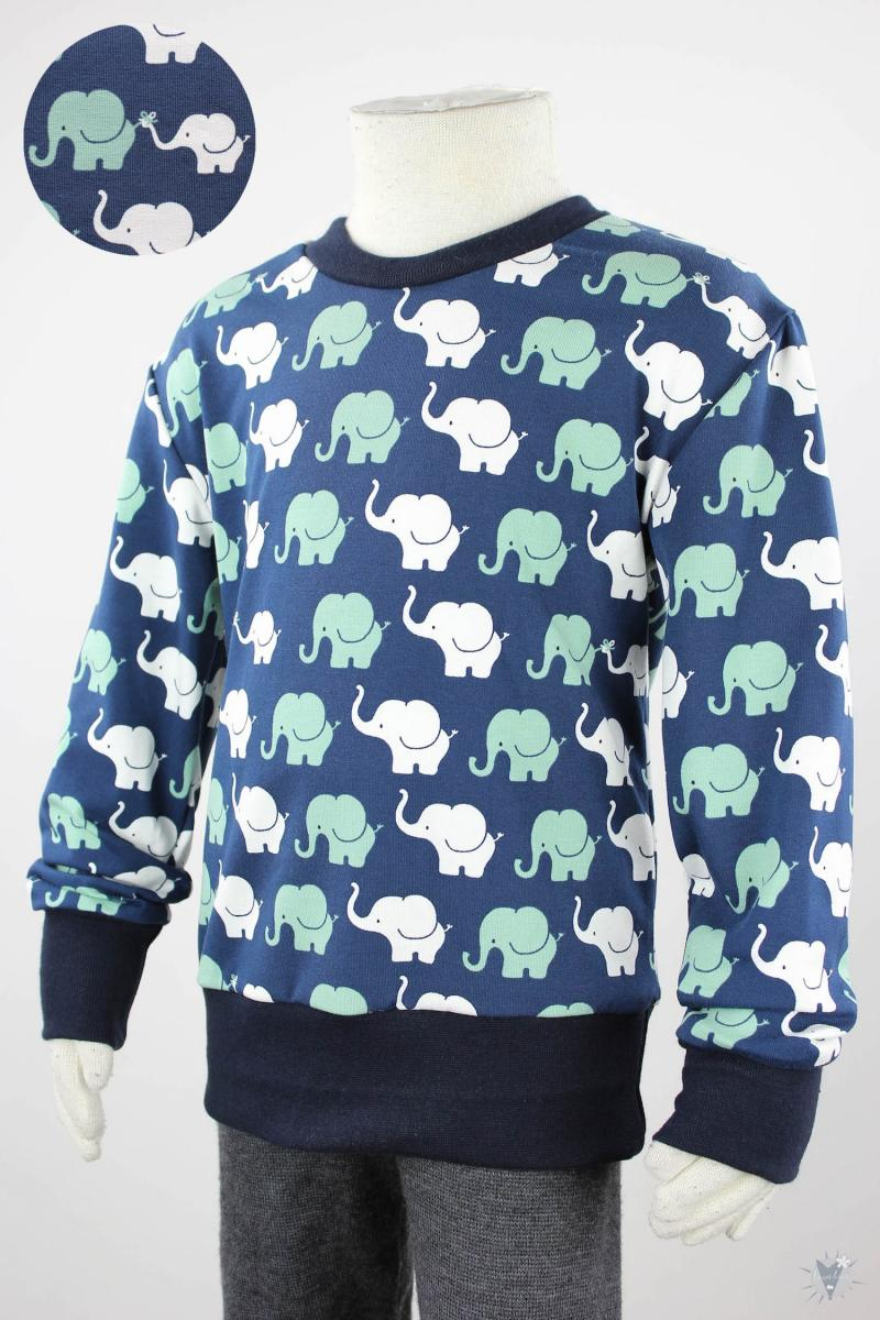 Kinder-Longsleeve mit Elefanten auf dunkelblau