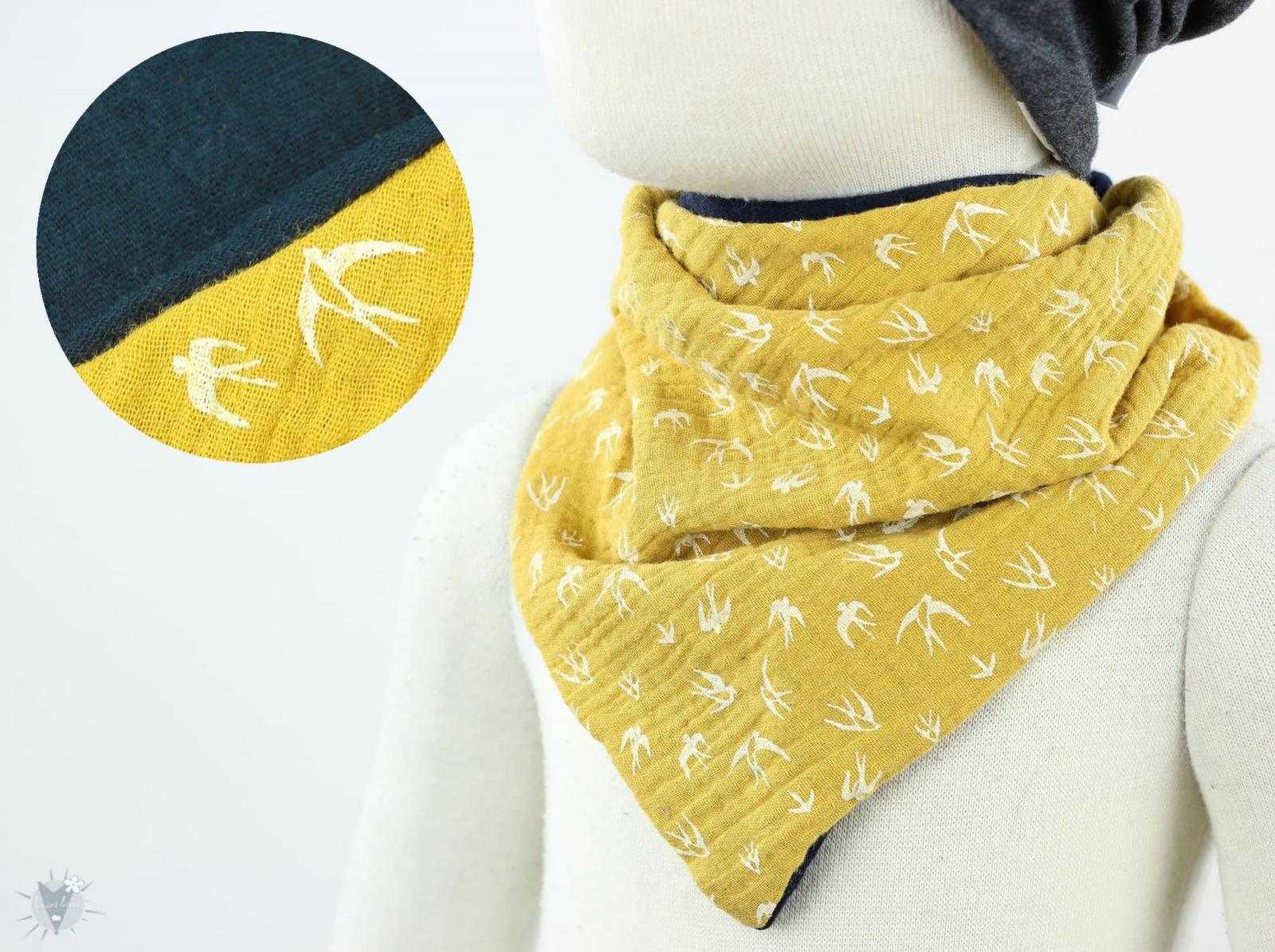 Musselintuch zum Wenden, Vögel gelb/marine