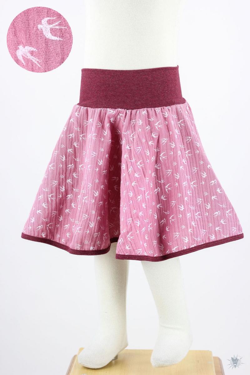 Kinder-Tellerrock Musselin, Vögel auf pink