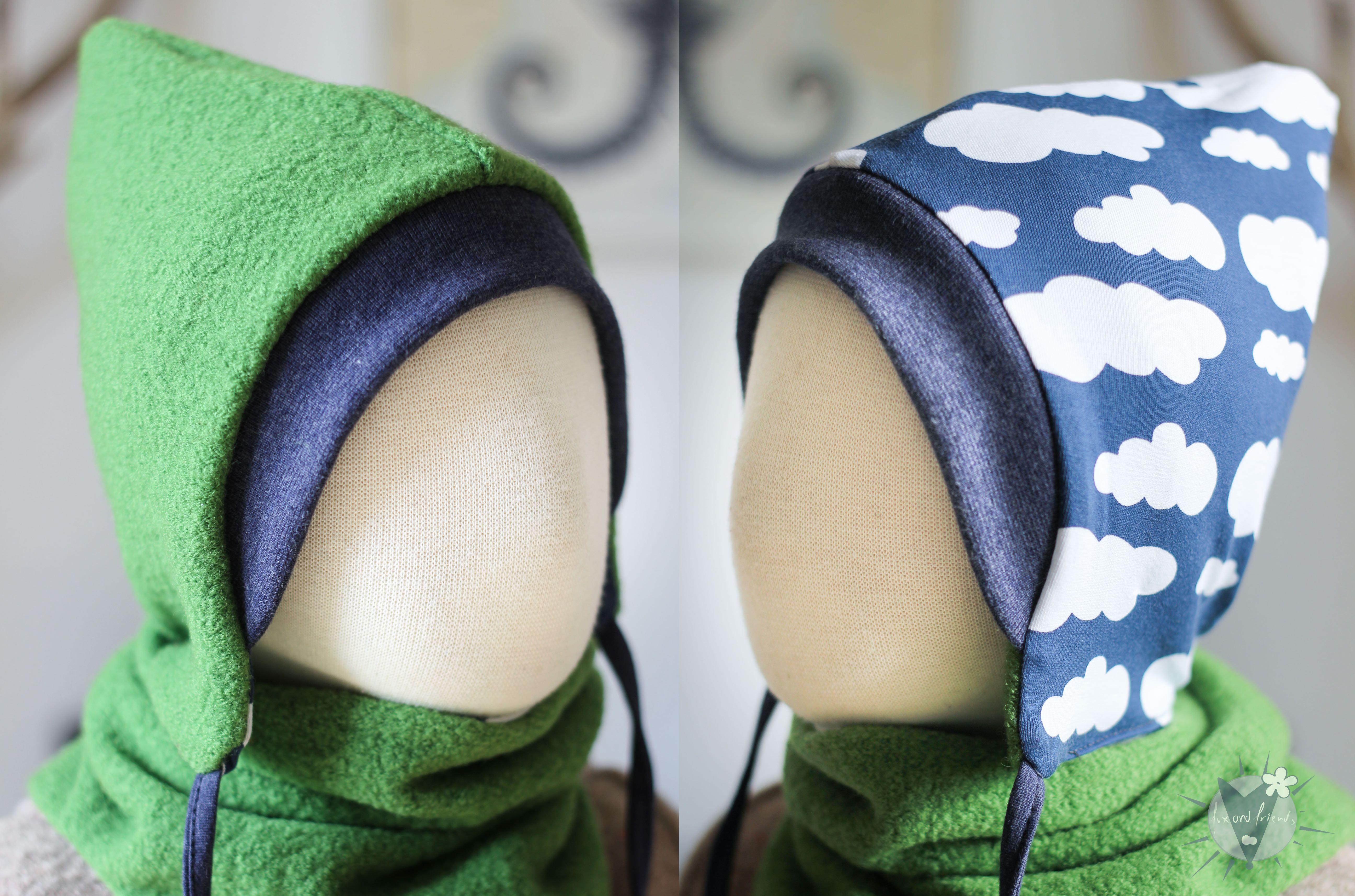 Kinder-Wollmütze, wendbar, grün mit Wolken auf blau
