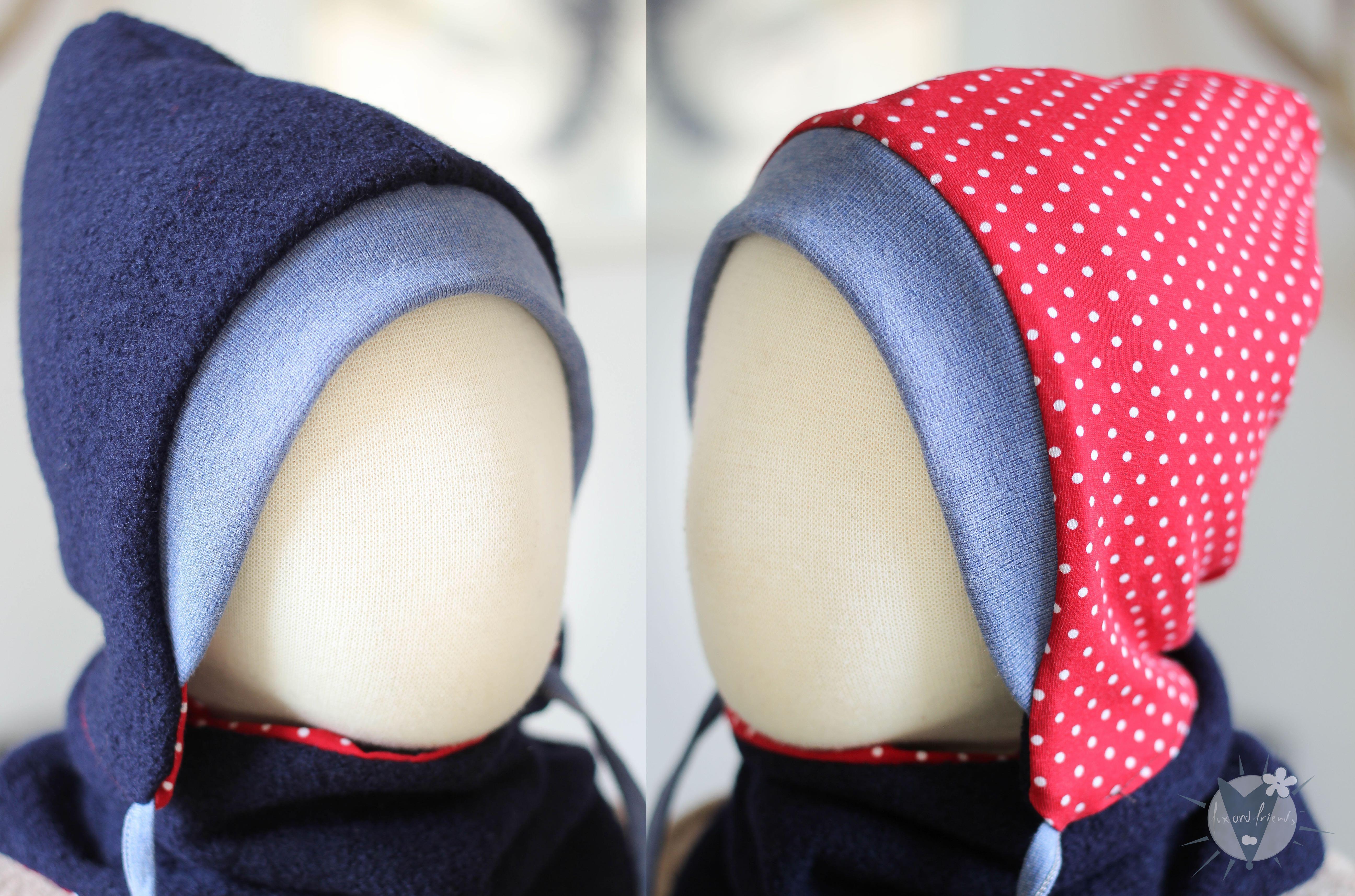 Kinder-Wollmütze, wendbar, marine mit Punkten auf rot