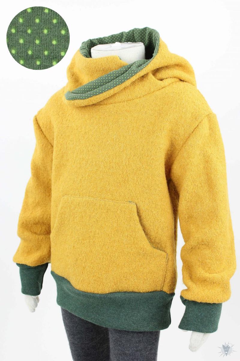 Kinder-Wollpulli mit Kapuze, gelb mit Punkten auf grün