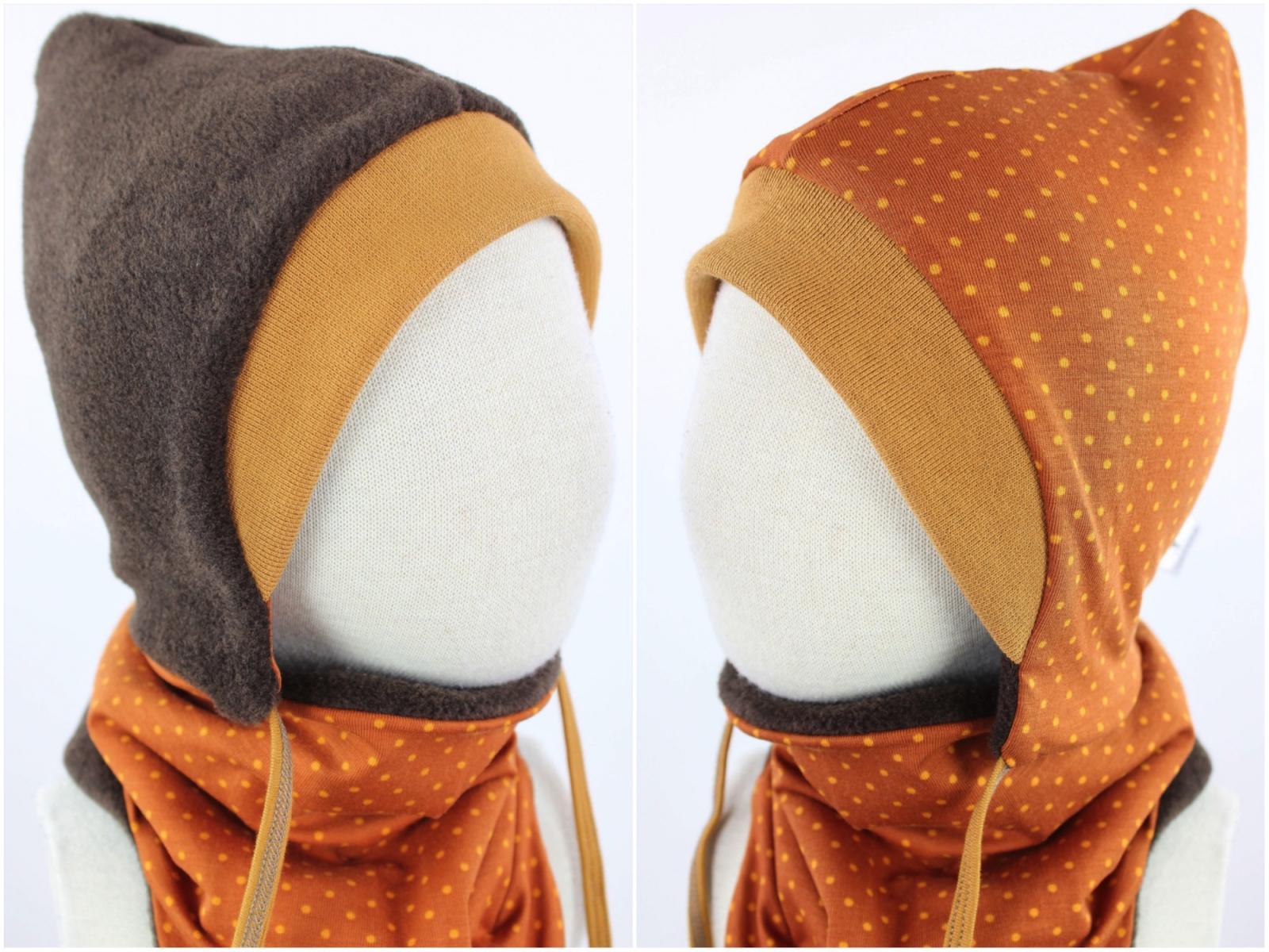 Kinder-Fleecemütze zum Wenden braun meliert mit Punkten auf orange