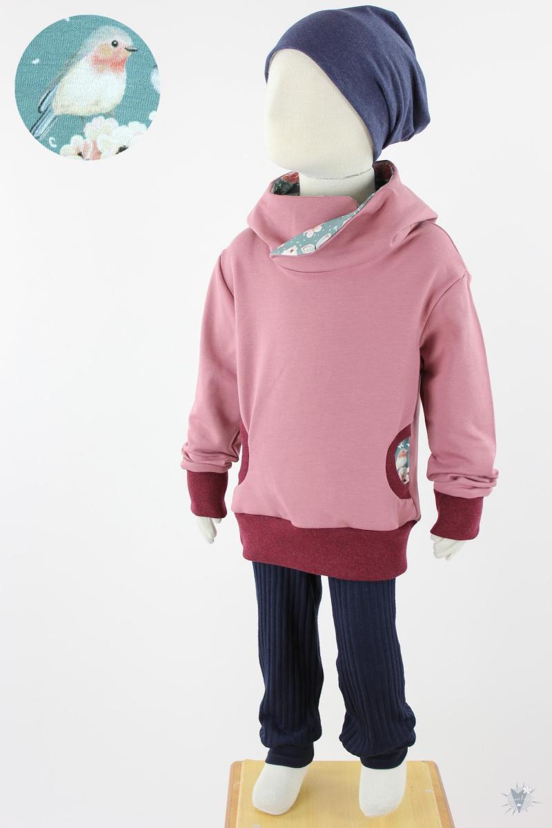 Kinder-Kapuzenpulli rosa mit Rosenvögeln auf petrol