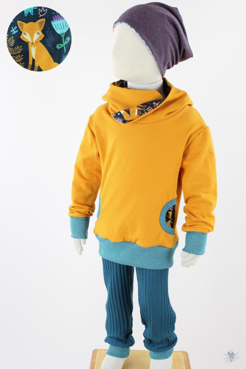 Kinder-Kapuzenpulli gelb mit Mohnfüchsen