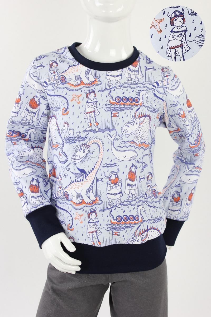 Kinder-Longsleeve hellblau mit Wikingern und Drachen BIO-STOFFE