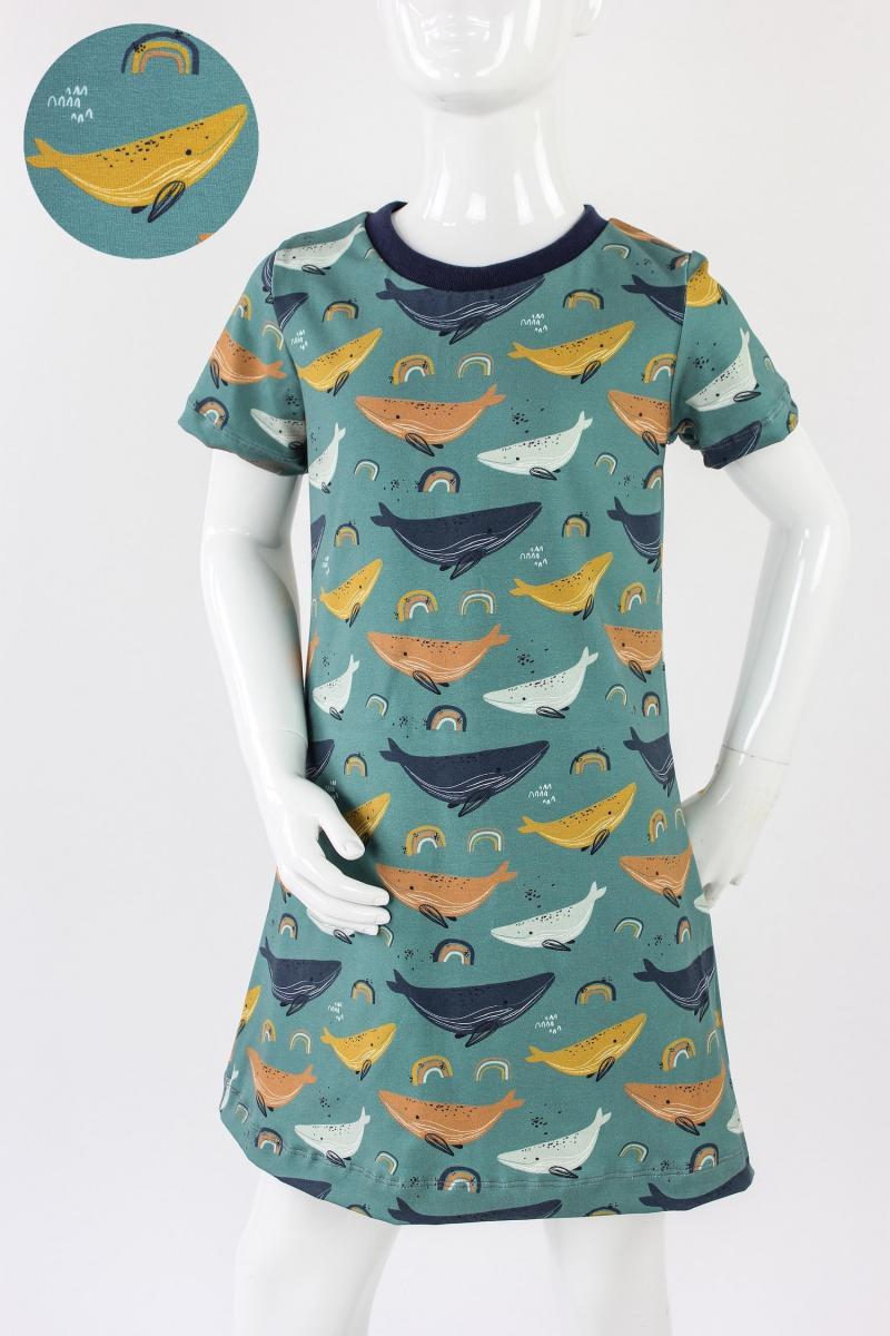 Kinder-Shirtkleid meeresgrün mit Walen