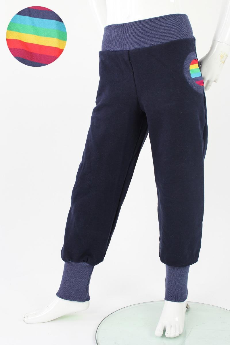 Tobehose für Kinder marineblau mit Regenbogenstreifen 98/104