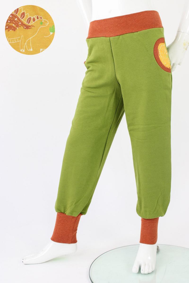 Tobehose für Kinder grün mit Dinos 122/128