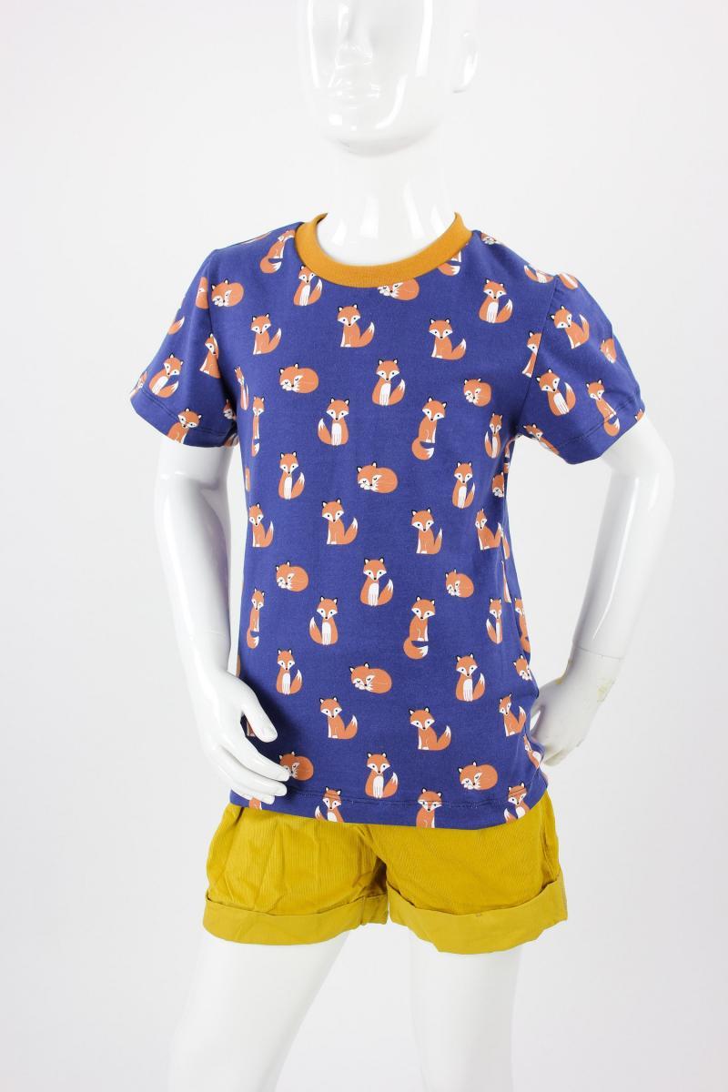 Kinder-T-Shirt blau mit Füchsen