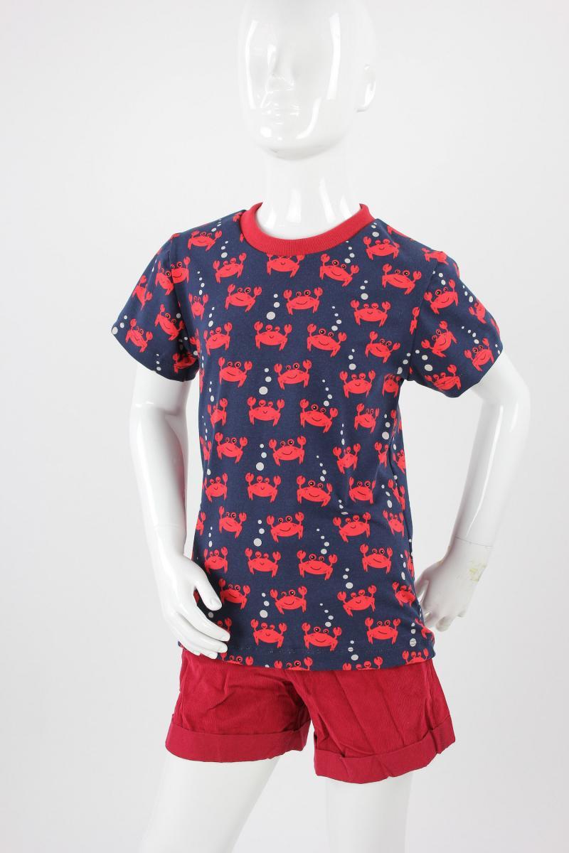 Kinder-T-Shirt blau mit Krebsen