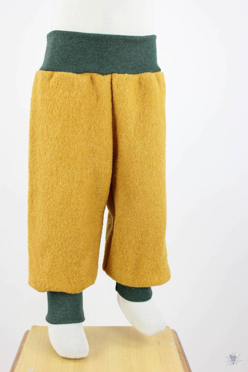 Wollhose gelb mit dunkelgrün melierten Bündchen 98/104