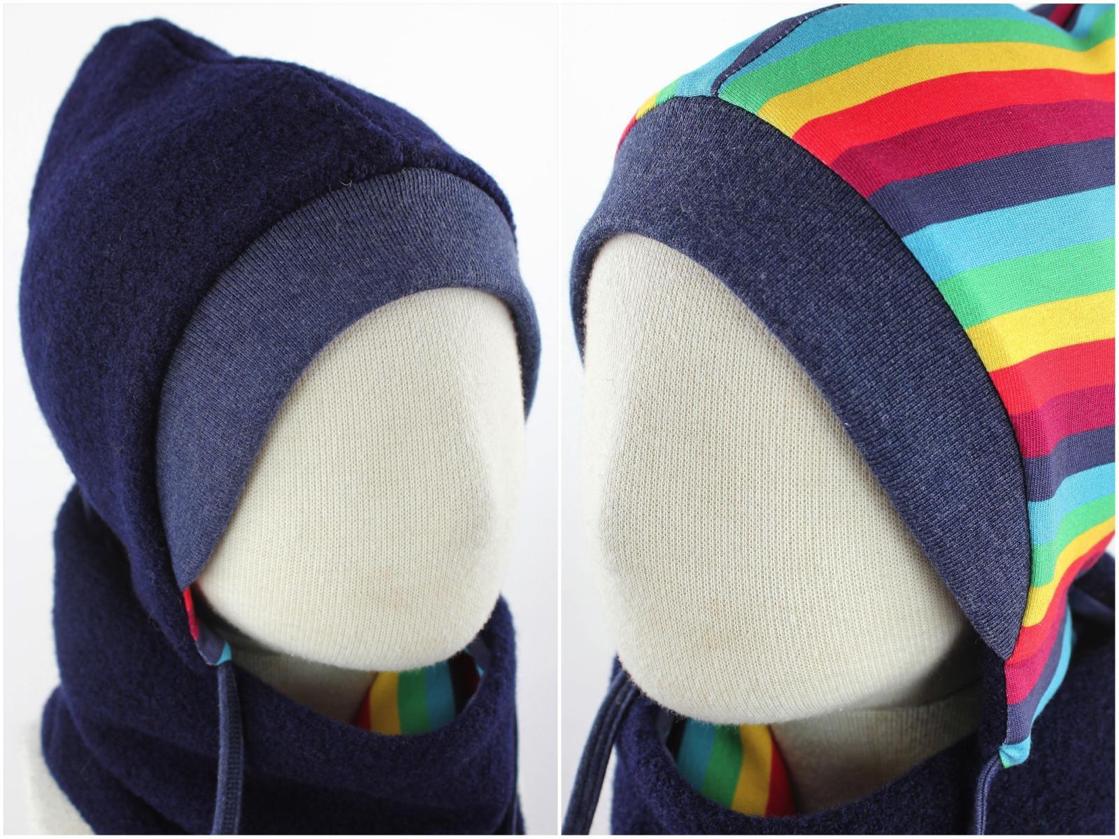 Kinder-Wollmütze zum Wenden marineblau mit Regenbogenstreifen KU 50-53