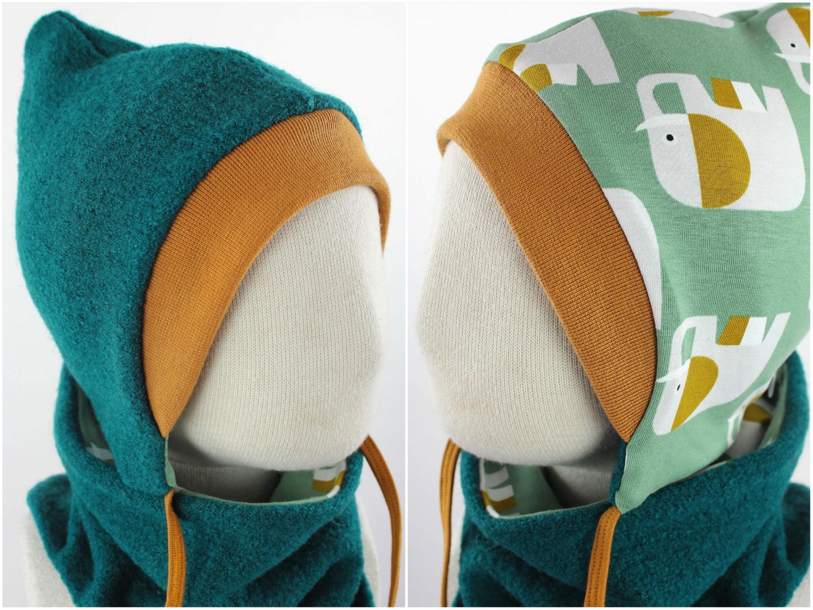 Kinder-Wollmütze zum Wenden smaragdgrün mit Elefanten auf mintgrün KU 47-49