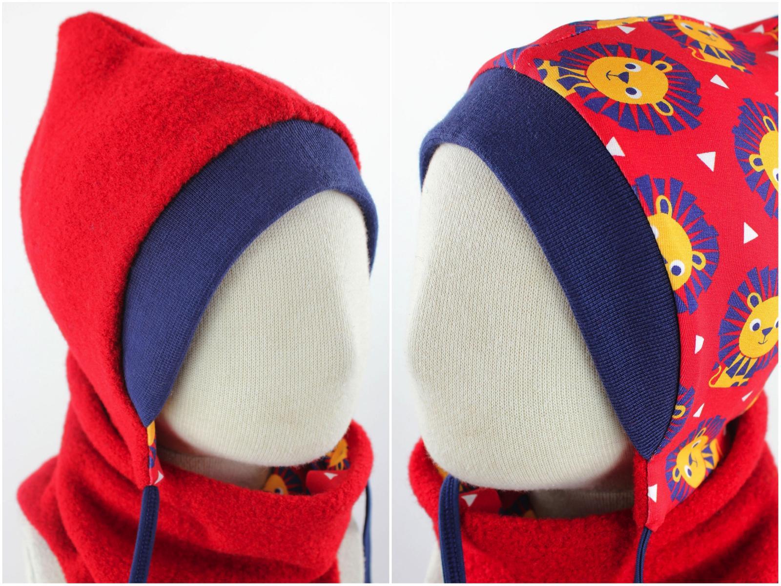 Kinder-Wollmütze zum Wenden rot mit Löwen KU 47-49
