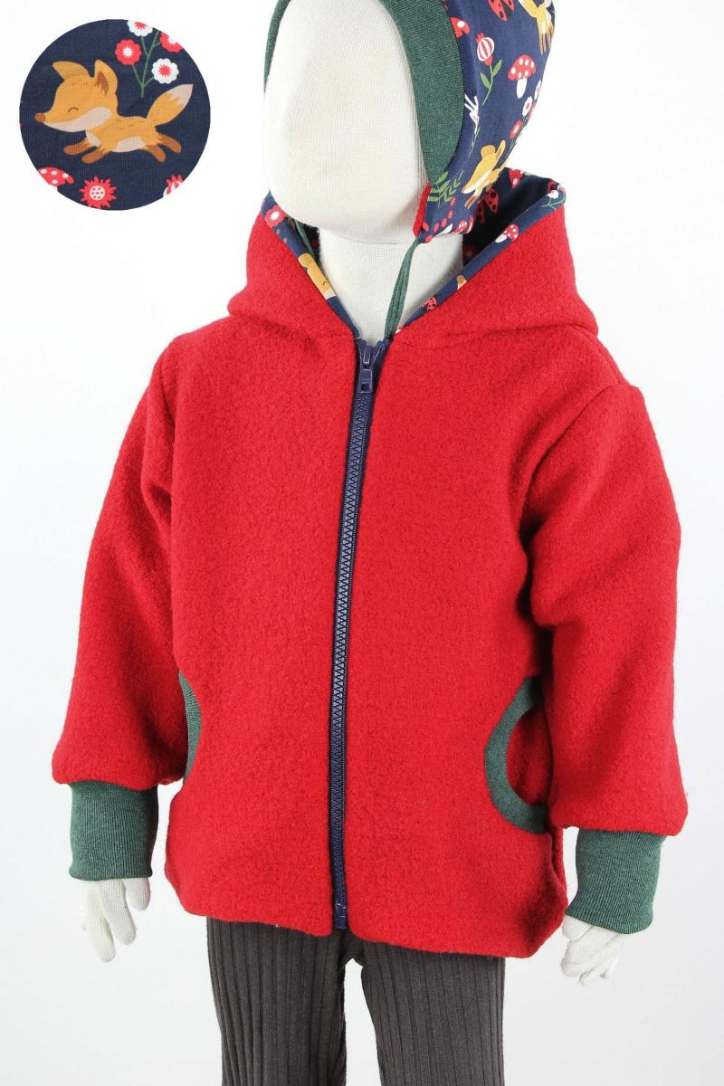 Kinder-Wolljacke rot mit Marienkäferfüchsen