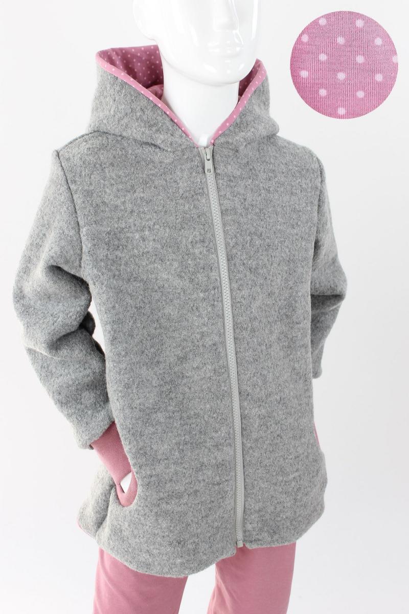 Kinder-Wolljacke grau mit rosa Punkten 50/56