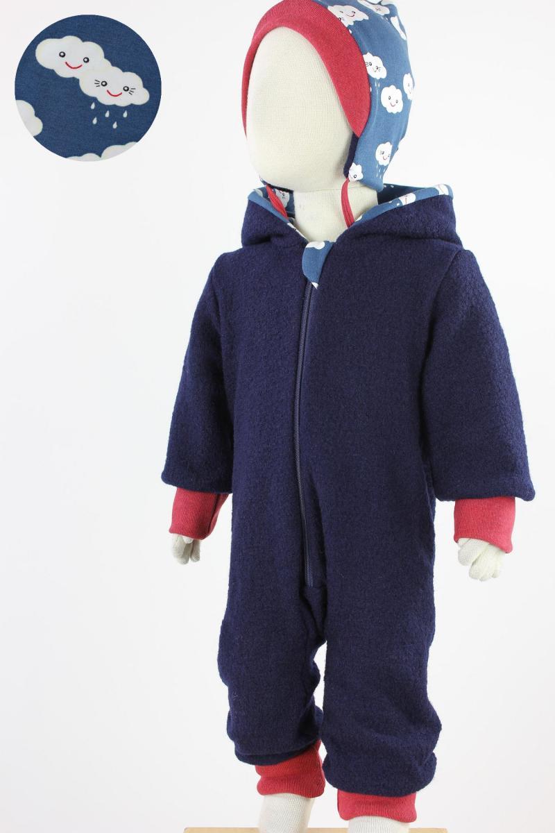 Kinder-Wollanzug  marineblau mit Regenwolken