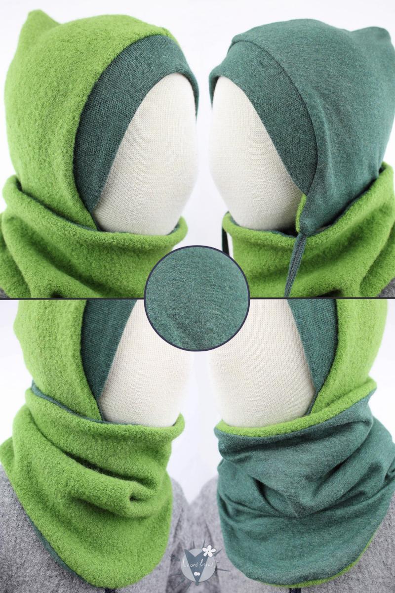 Wollmütze & Wollschlupfschal im Set, grün mit dunkelgrün