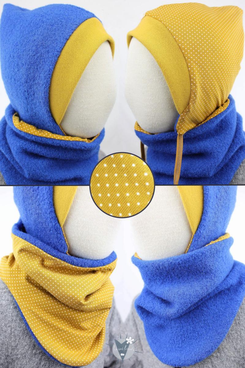 Wollmütze & Wollschlupfschal im Set, royalblau mit Punkten auf gelb